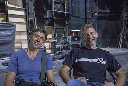 Gesher technical director Maxim Rosenburg is on the left, with technical manager Sergey Novitsky on the right