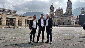 In Bogota Old Town: Robe's Latin America Sales Regional Sales Manager Guillermo Traverso in the middle, flanked by Juan Camilo Triana, Sales Manager for AV Com on the left, and Camilo Aranguren, CEO of AV Com on the right